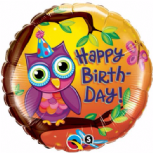 "Birthday Owl Foil Balloon (18"") 1pc"